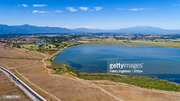aerial view of the canet and saint nazaire lake - loire atlantique photos et images de collection