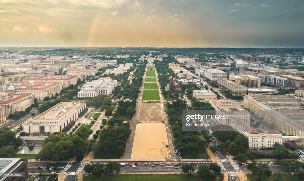 Aerial view of The Capitol and The Nation Mall, Washington D.C. : Stock Photo