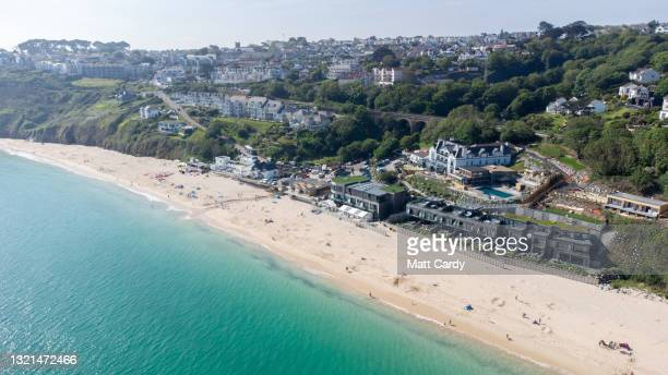 Aerial view of The Carbis Bay Estate hotel and beach, which is set to be the main venue for the upcoming G7 summit, is seen from a drone on June 2,...