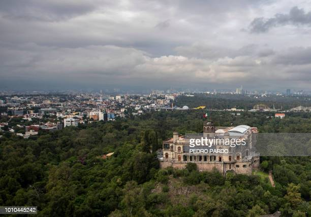 Aerial view of the Castillo de Chapultepec one of Mexico's most emblematic historic buildings and currently home to the National Museum of History in...