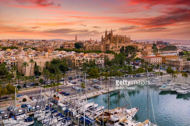 aerial view of the cathedral of santa maria of palma. mallorca, spain. - palma majorca stock pictures, royalty-free photos & images
