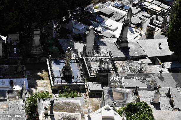 Aerial view of the cemetery in the town of Sibenik located in the central area of the Dalmatia region Croatia on September 4 2018