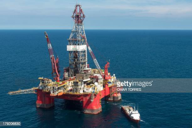 Aerial view of the Centenario exploration oil rig operated by Mexican company Grupo R and working for Mexico's stateowned oil company PEMEX in the...