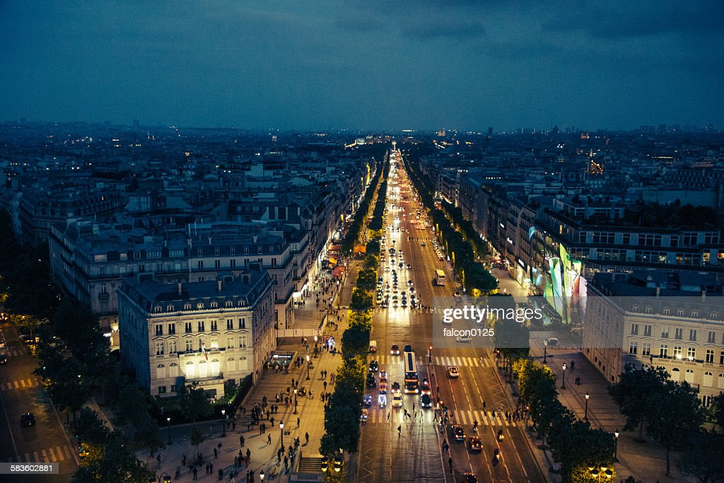 Aerial view of the Champs Elysees : Stock Photo