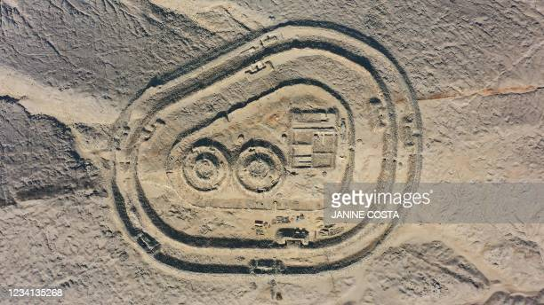 Aerial view of the Chankillo Solar Observatory near Casma, Peru, on July 22, 2021. - Chankillo, the oldest solar observatory in America from between...