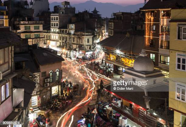 Aerial view of the chaotic street of Kathmandu at sunset in Nepal capital city
