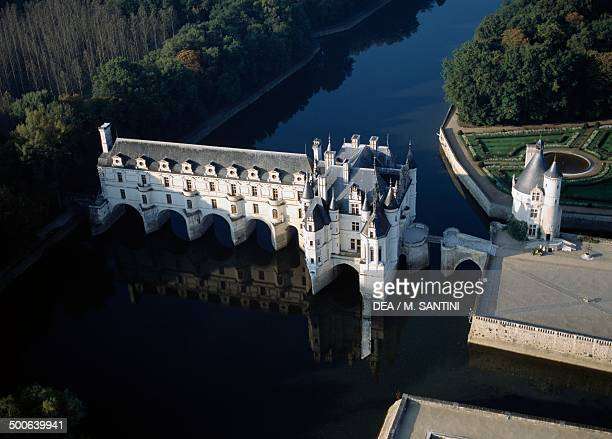 Aerial view of the Chateau de Chenonceau Castle 16th century on the River Cher Loire Valley Centre France