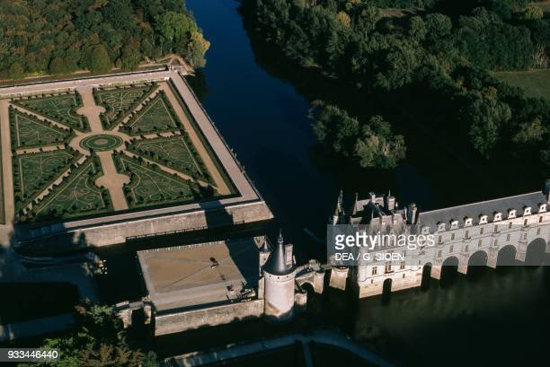 Aerial view of the Chateau de Chenonceau on the Cher River near Chenonceaux Loire Valley CentreVal de Loire France 16th century