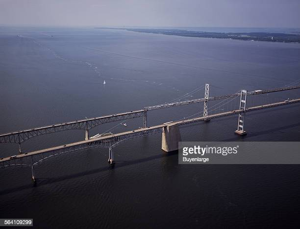 Aerial view of the Chesapeake Bay Bridge connecting Annapolis with Maryland Eastern Shore