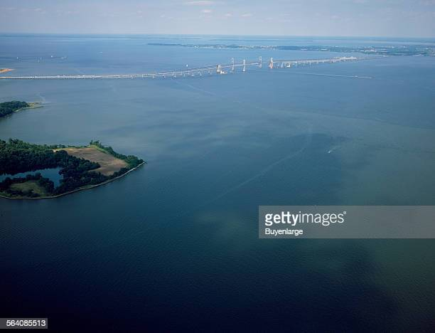 Aerial view of the Chesapeake Bay Bridge officially the William Preston Lane Jr Memorial Bridge connecting the Maryland capital city Annapolis with...