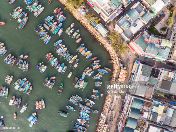 Aerial view of the Cheung Chau harbor  in Hong Kong