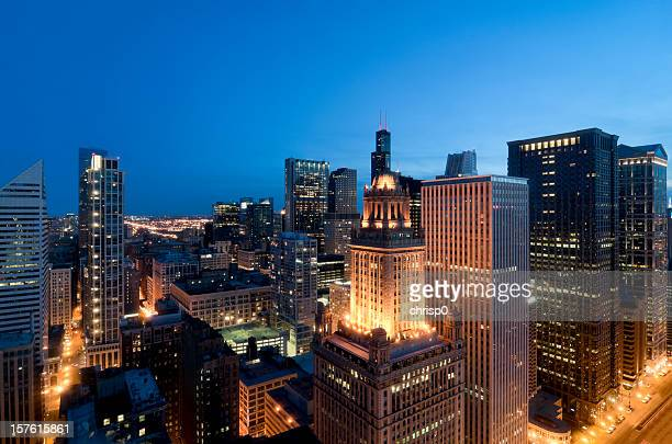 Aerial View of the Chicago Loop at Dusk