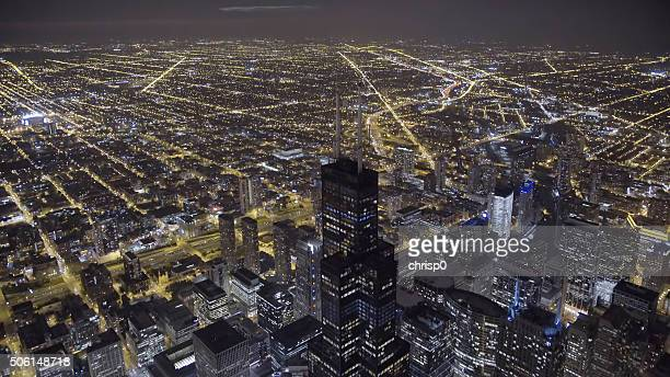 Aerial View of the Chicago Loop at Night