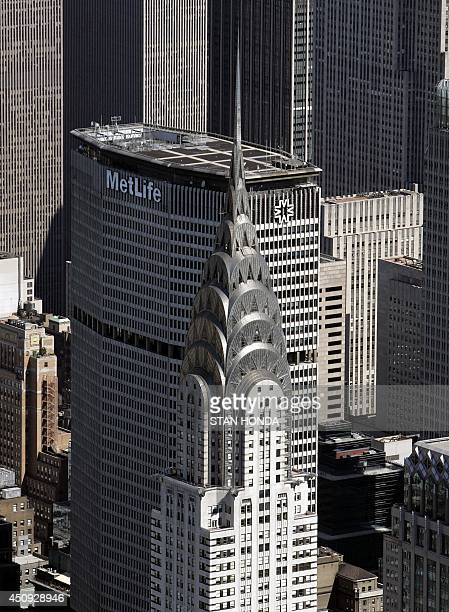 Aerial view of the Chrysler Building and the Met Life Building in midtown Manhattan 01 July 2007 in New York City.
