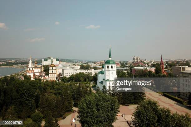 Aerial view of the Church in the Name of the Savior of the Holy Image in Irkutsk