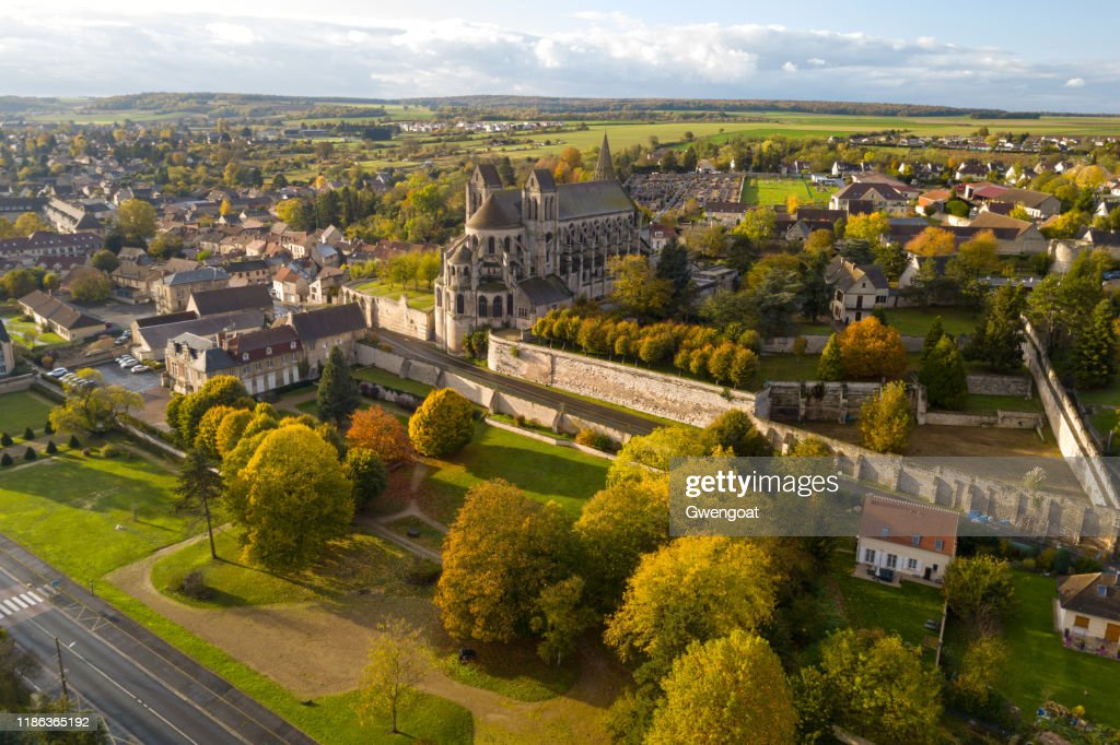 Aerial view of the Church of St. Nicholas in Saint-Leu d'Esserent : Stock Photo