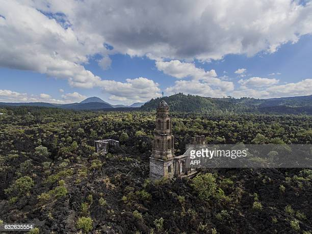 Aerial view of the church of the Senor de los Milagroslord of the miracles of San Juan Nuevo in Angahuan community Michoacan State Mexico on January...