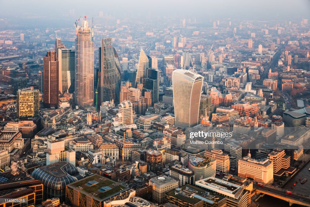 Aerial view of the City at sunset, London, United Kingdom : ストックフォト