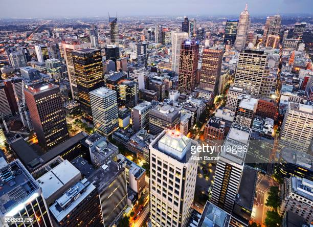 Aerial view of the city centre of Melbourne at dusk