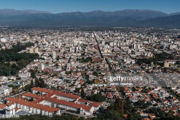 aerial view of the city, from the top of the teleferico san bernardo, against the andean hills, salta, nw argentina - salta argentina stock photos and pictures
