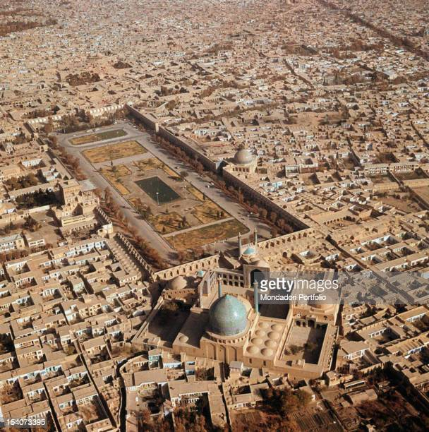 Aerial view of the city Naqshe Jahan Square and the Mosque of the Shah Esfahan sixties