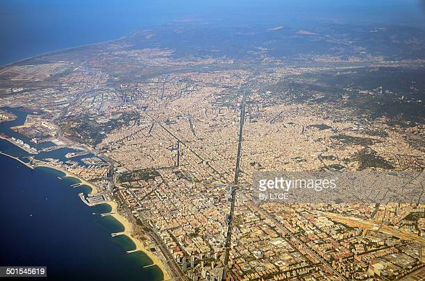 Aerial view of the city of Barcelona