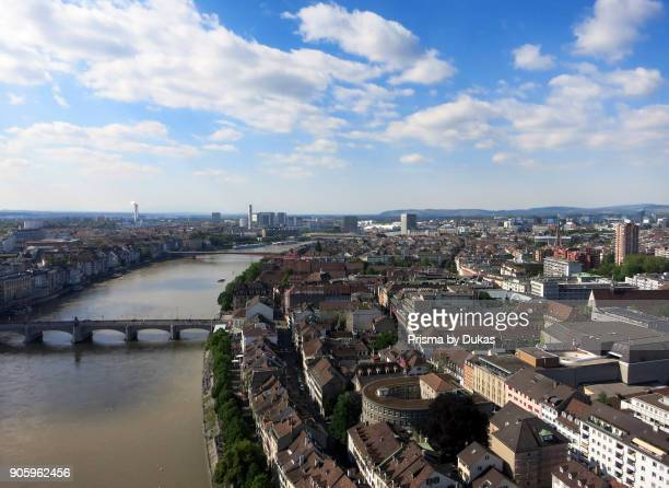 Aerial view of the city of Basel with old town and Rhine.