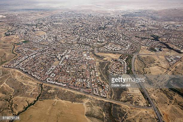 A aerial view of the city of Beersheba the largest city in the Negev desert