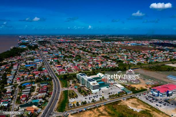 Aerial view of the city of Georgetown Guyana on March 1 2020
