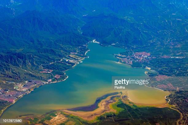 Aerial view of the city of Guantingzhen Huailai, Zhangjiakou, Hebei,China