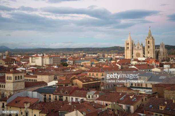 Aerial view of the city of Leon, Castilla and Leon, Spain
