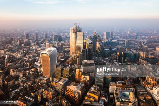 aerial view of the city of london at sunset, england - city stock pictures, royalty-free photos & images