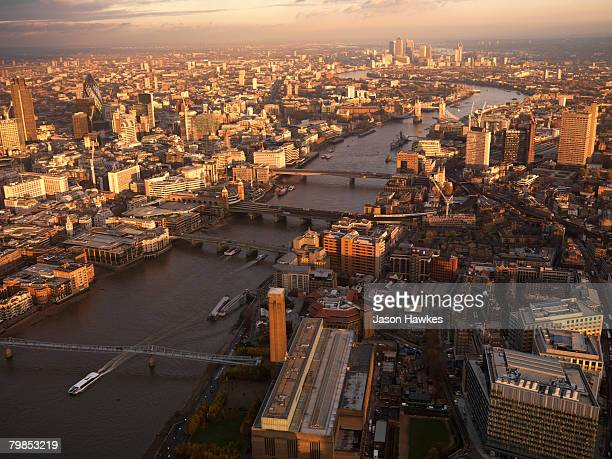 Aerial view of the City of London on November 22 2007 in London