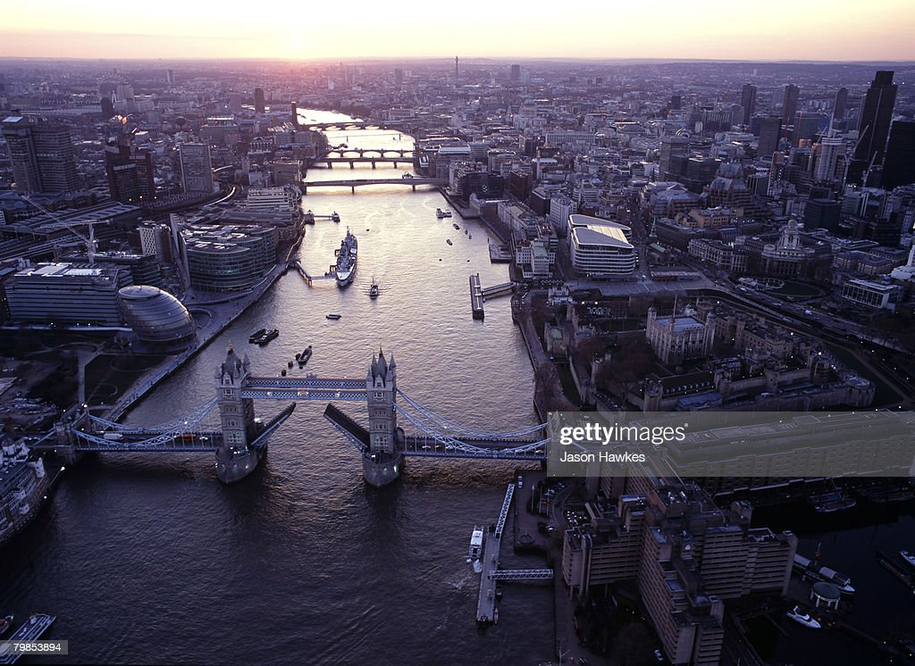 Aerial view of the City of London on September 11, 2007 in London.
