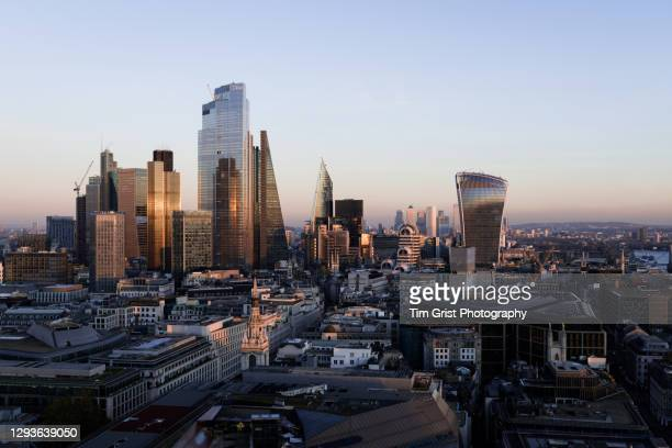 aerial view of the city of london skyline - economic stimulus stock pictures, royalty-free photos & images