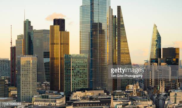 aerial view of the city of london's financial district. london, uk. - tim grist stock pictures, royalty-free photos & images