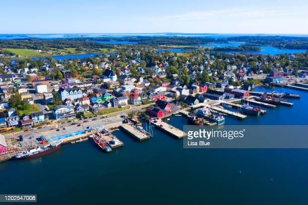 aerial view of the city of lunenburg in nova scotia, canada - cape breton island stock pictures, royalty-free photos & images