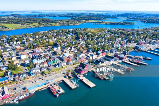 aerial view of the city of lunenburg, nova scotia, canada - cape breton island stock pictures, royalty-free photos & images