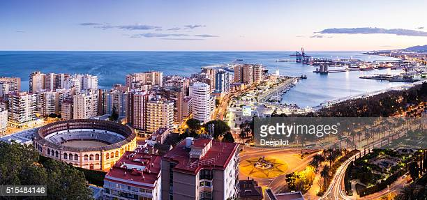 Aerial view of the city of Malaga at sunset Spain