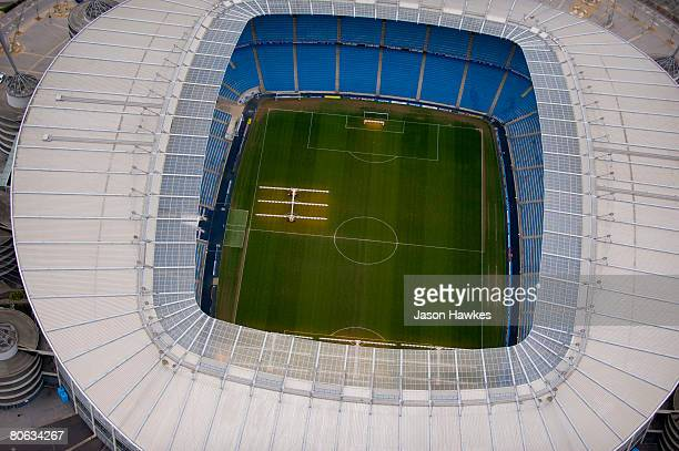 Aerial view of The City Of Manchester Stadium home to Manchester City Football Club on March 28 2008 in Manchester UK