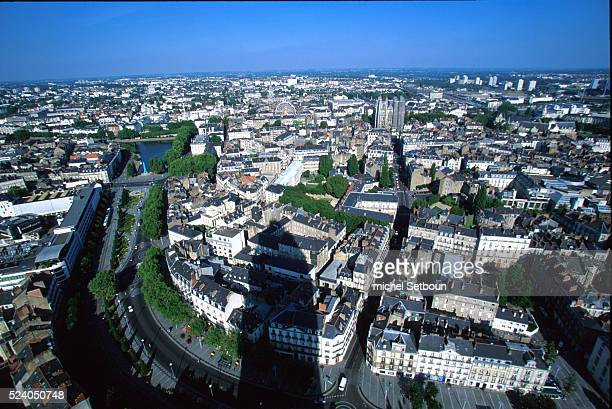 Aerial view of the city of Nantes