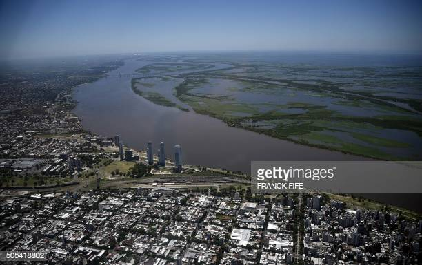 Aerial view of the city of Rosario on the banks of the Parana River in Argentina during the stage 13 of the Dakar 2016 between Villa Carlos Paz and...