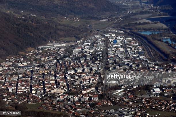 Aerial view of the city of Sallanches in the French Alps. France.