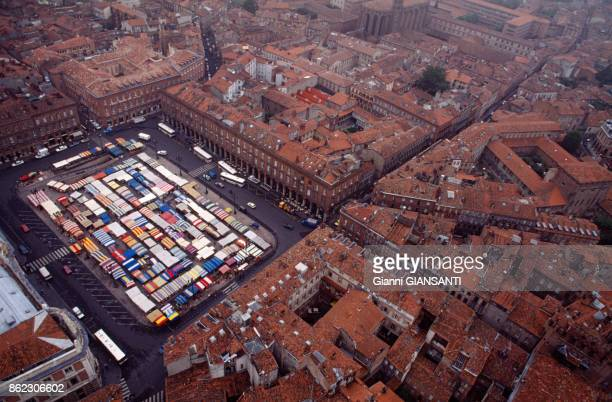 Aerial view of the city of Toulouse and the Place du Capitole May 1990 France