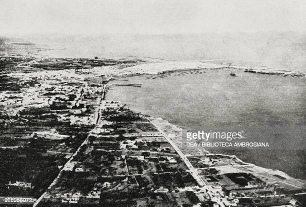 Aerial view of the city of Tripoli Libya at 400 meters of height from the magazine L'Illustrazione Italiana year XLVI no 13 March 30 1919