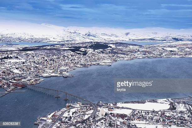 Aerial view of the city of Tromso,Norway