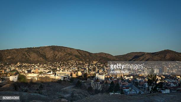 aerial view of the city of villa carlos paz - cordoba argentina stock photos and pictures