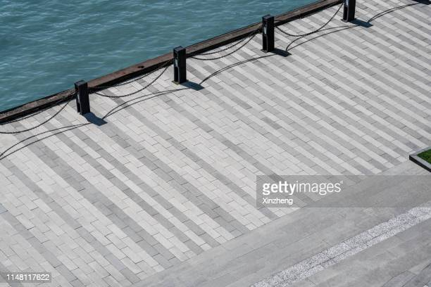 aerial view of the city wharf - pier ストックフォトと画像