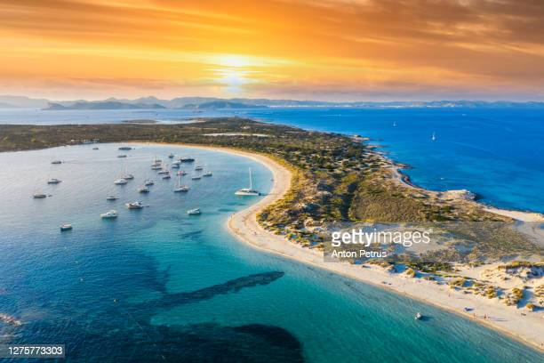 aerial view of the clear beach and turquoise water of formentera, ibiza - balearic islands stock pictures, royalty-free photos & images
