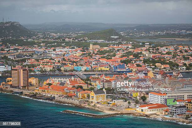 Aerial view of the coast and Willemstad, Curacao, Caribbean